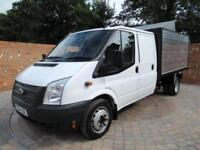FORD TRANSIT 350 LWB DOUBLECAB 1 WAY TIPPER 125 BHP NEW CHIPPER BOX TOOL AREA