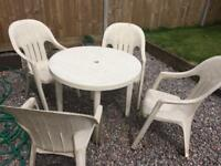 Thick plastics table and chairs