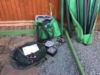 FISHING EQUIPMENT AND POP UP BIVY.