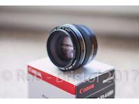 Canon 50mm 1.4 USM AF lens - BOXED + Protector filter + caps