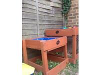 Plum wooden sand and water table