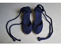 Ladies shoes - Schuh blue canvas wedge espadrilles - never worn - size 6