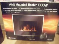 Black Glass Electric fire Wall mounting type