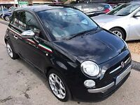 2011/61 FIAT 500 1.2 LOUNGE S/S,BLACK,PANORAMIC ROOF,STUNNING LOOKS AND CONDITION £30 ROAD TAX