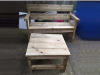 Handmade Garden Bench & Table Set