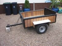BOX TRAILER 4FT 6 x 3FT 6 STEEL FRAMED AND TIMBER SIDES AND FLOOR C/W LIGHTS