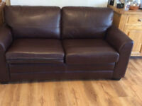 Brown, leather look, metal action sofa bed. Good condition. £85