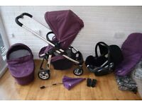 Purple iCandy Cherry pram pushchair with car seat travel system 3 in 1 CAN POST