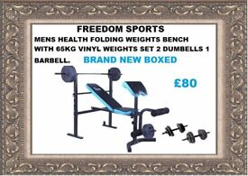 Men's Health Folding Workout Bench with 65kg Weights Brand New Boxed