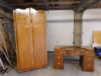 Vintage Wardrobe & matching Dressing table with mirrors