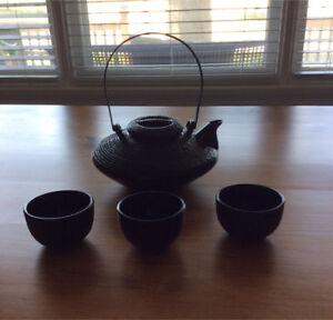 Beautiful deep brown tea set