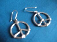 RETRO Hippy 60's Peace Earrings 60's - Sterling Silver