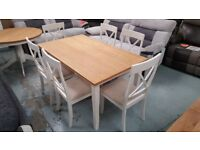 NEW EX-DISPLAY JULIAN BOWEN DAVENPORT DINING TABLE & 6 CHAIRS **CAN DELIVER**