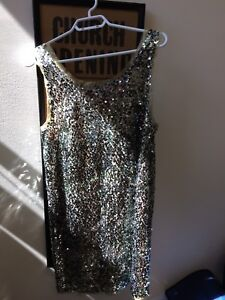 J Crew sequinned cocktail dress silver