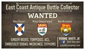 ANTIQUE BOTTLES & GINGER BEERS, PEI / N S / NB $$$$$$$$$$$