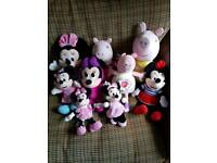 Minnie Mouse and Peppa Pig soft toy collection