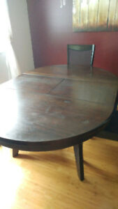 Black solid wood table 4 chairs matching