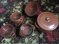 Retro soup pot, bowls and bread basket