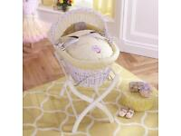 Izziwotnot White Wicker Moses Basket & Stand with Humphreys Corner Fairy Princess Bedding