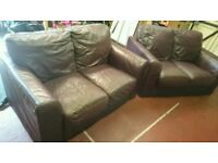 2 x 2 Large Seater Leather Brown Red Maroon Burgundy