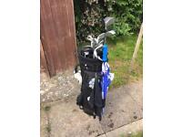 Full golf set including clubs, balls, ball holster, glove, umbrella and towel