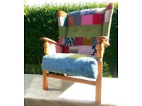 Patchwork wing chair fireside chair