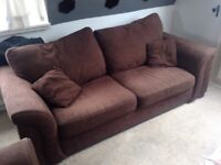 2 Seater Sofa and Armchair (Fabric) - Chocolate Brown. Includes Delivery!