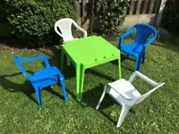 Childrens Garden Table and 4 Chairs, Playroom, Nursery