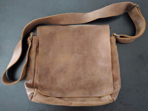 Brown Leather Roots Messenger Satchel