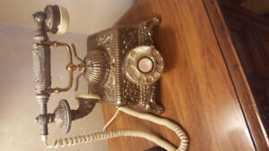 Brass French Victorian Style Rotary Telephone