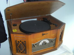 RADIO, TURNTABLE, CD, CASSETTE PLAYER - NOSTALGIC CABINET
