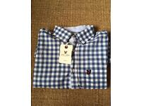 Brand New With Tags Blue Lyle and Scott Heritage Checked Shirt Medium