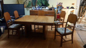 Hardwood Buffet, Table and chairs