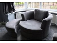 DFS Freya Swivel Armchair / Round tub chair