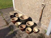 Glazed terracotta garden patio pots.