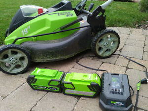Green Works 40 Volt Charger plus two Batteries