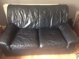 2&3 seater sofas navy leather FREE