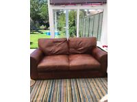 Brown leather 2/3 seater sofa chair