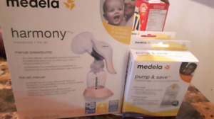Brand new manual breast pump and 2 pump n save bag boxes
