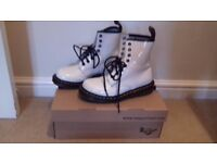 Dr Martens 1460 White Patent Boots with original box- size 3