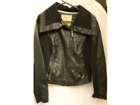 Black leather coat UK size 12 modern