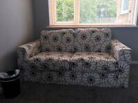 2 seater black and white sofa