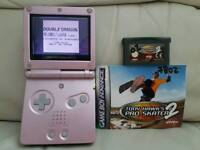 Pink Gameboy advance sp with games and official charger