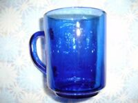 6 blue glass cups for sale