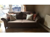 Brown fabric dfs sofa