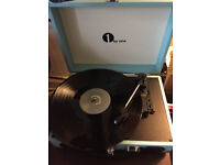 [BRAND NEW] 1byone portable 3-speed turntable in turquoise