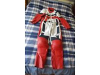 Red And White Fieldsheer 2 Piece Bike Suit