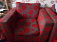 fabric two seater bed sofa + arm chair +footstool