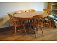 4-6 Seater wooden Dining Table with 5 chairs included.