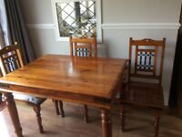 Indian table and four chairs